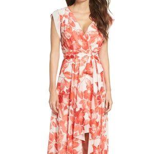 Eliza J Pink Floral Surplice Obi High/Low Dress